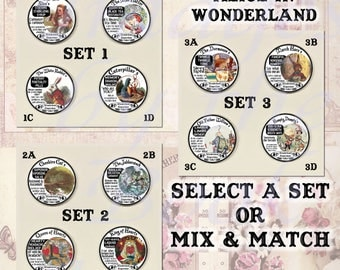 Button Magnets: Fantasy Potion Labels -- Alice in Wonderland, A Set of Four Magnetic Pendants and Chain (Select a Set or Mix and Match)