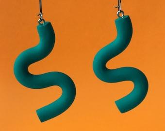 Green Squiggle Earrings