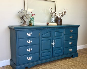 Blue Dresser - Baby Nursery Furniture - Media Dresser - Long Dresser - Fixer Upper Furniture - TV Credenza - Beach Cottage Furniture