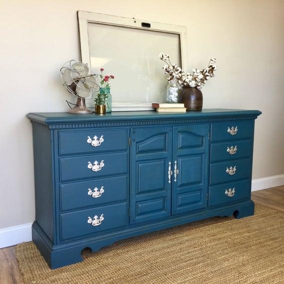 Blue Dresser - Baby Nursery Furniture - Media Dresser - Long Dresser - Fixer Upper Furniture - TV Credenza - Beach Cottage Furniture