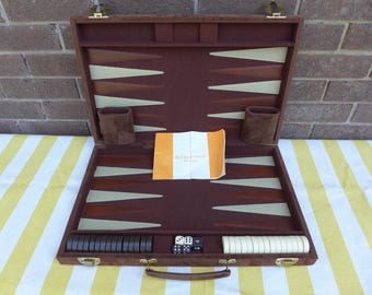 Vintage Backgammon Set in Velveteen Case Fuzzy Brown Complete Tournament Game Thick Black and White Chips Dice Shakers Rule Book Game Room