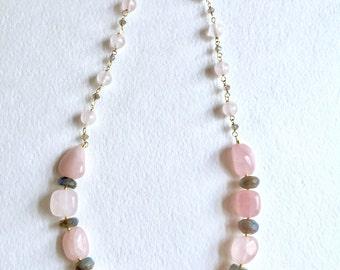 Pantone 2016 Chunky Rose Quartz and Labradorite Statement Necklace by KarenWhalenDesigns