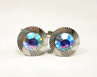 Vintage Silver Cuff links with rainbow crystals