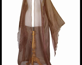 Beautiful Chocolate Brown Shimmer Organza Cloak with Sleeves. Ideal for a Medieval Summer Wedding Handfasting Event. Made Especially For You