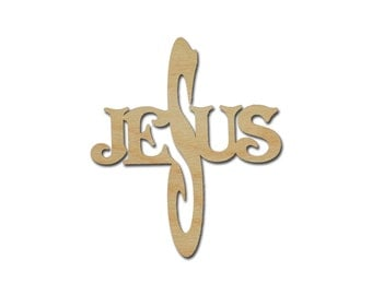 Jesus Wood Cross Cutout Unfinished Wooden Crafts style 2