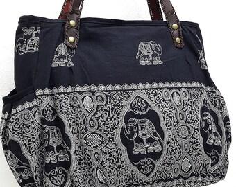 Women bag Handbags Thai Cotton bag Elephant bag Hippie bag Hobo bag Boho bag Shoulder bag Tote bag Diaper bag Everyday bag Purse Black