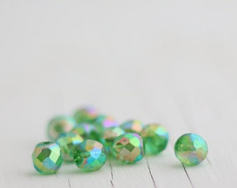 Vintage Czech Glass Faceted AB Beads - 7mm - 12 beads