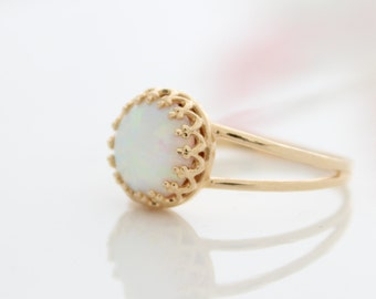 Opal Ring  Delicate gold ring set with white opal gemstone | Bridal Jewelry