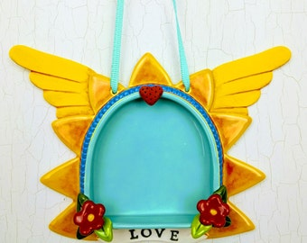 Sunburst  Wall Altar- Yellow with Love and Wings