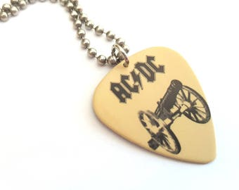 AC/DC Guitar Pick Necklace with Stainless Steel Ball Chain