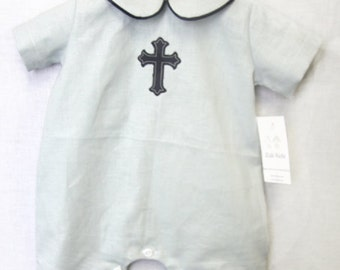 Baby Boy Christening Romper|- Baby Christening Outfit | Baby Boy Baptism Suit | Baby Boy Baptism Outfit | Baby Boy Clothes  292680