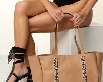 Leather Shopping Bag, Large Leather Tote, Top handle Bag, Custom Color - Free standard shipping