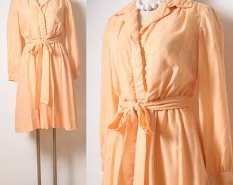 70s Dress, Vintage Dress, Vintage peach Dress, Vintage orange dress, Vintage shirt dress, Vintage secretary dress, Cotton Dress - S/M