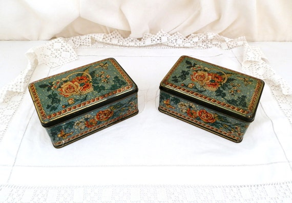 2 Vintage French Metal Cookie Tin / Sugar Cube Box with Floral Rose Flower Mosaic Style Pattern, French Decor, Matching Pair, Retro,, Alsa