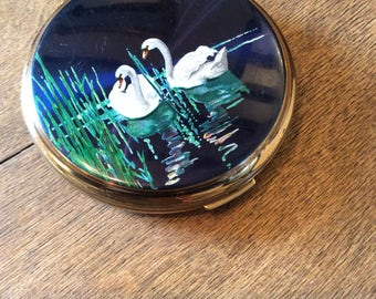 Stratton Compact Mirror 1960's - Swan Compact Gold Navy - Vintage Pocket Powder Mirror - Bridesmaid Gifts - 1960s Accessories