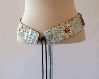 1980s, 1990s Vintage - Vintage Belt - Boho, Hippie Shell Tie Belt - Mother of Pearl