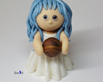 Miniature Clay Doll, Azzurrina Ghost Miniature, Ghost Girl Sculpture, Italian Folklore Figurine, Clay Figurine, Blue Haired Little Girl