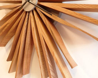 starburst clock handmade elm wall clock wedding present wooden clock