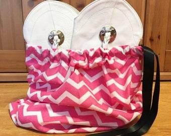 Chevron dance drill team boot/shoe bag - pink