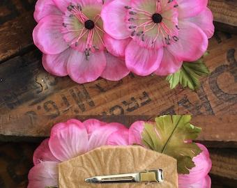 """Pink Flower for Hair, Pink Rose Clip, Vintage Headpiece, Floral Clip, 1950s Flower Hairpiece, Pink Hair Accessory - """"Bathed in Roses"""""""