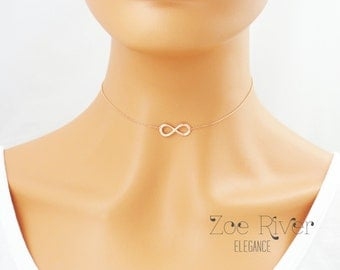 Choose rose gold, silver or gold infinity choker. Rose gold infinity choker necklace. Dainty rose gold choker necklace. Infinite love choker
