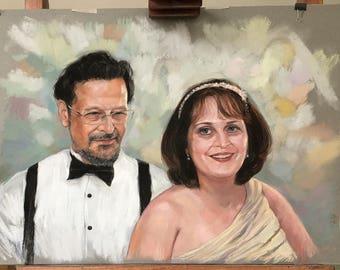Custom Couple Portrait, Custom Portrait, Pastel portrait from photo Family portrait, Anniversary gift, Hand painted pastel portrait