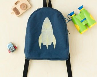 MADE TO ORDER, Customizable, Toddler Backpack, Hand Stamped, Rocket ship, Space, Monochrome, Kids Backpack