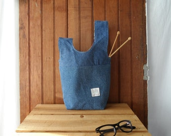Project bag recycled denim square bottom knot pouch
