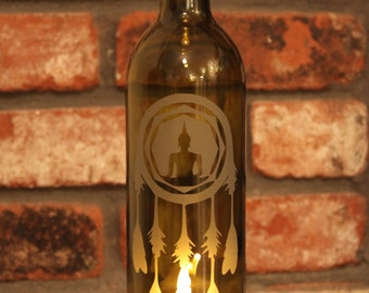 Buddha Dream Catcher Wine Bottle Lantern - (Stand & Candle Included) , Zen Garden, Outdoor Decor, Upcycled, Eco Friendly