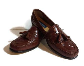 Giorgio Brutini, Mens brown leather loafers, tassel shoes, basket weave shoes, Giorgio Brutini tassel loafers, size 9D, handcrafted loafers