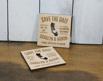 Save the Date Magnet/50/Engraved Ornament/Wedding/Favor/Wedding Ornament/Tag/Personalized/Wood/Shower Favors/Wood Magnet