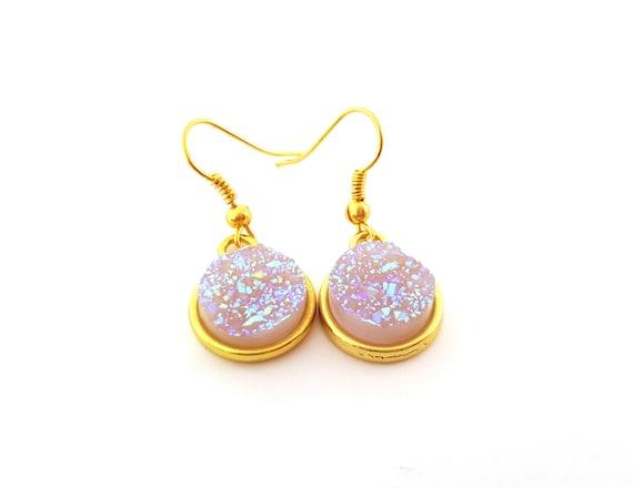 Sparkling Faux Druzy Drop Earrings - Sparking Rainbow Druzy Earrings - Gold Plated Earrings - AB White Pastel Earrings - Gift for Her