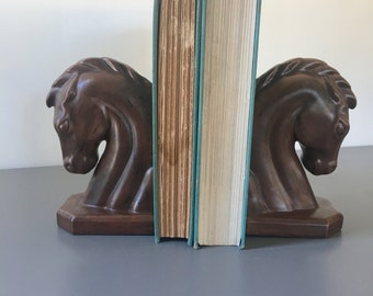 vintage ceramic horse head bookends brown faux bois deco