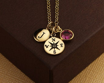 Personalized compass necklace compass charm necklace going away gift goodbye gift friend coworker birthstone letter necklace gold