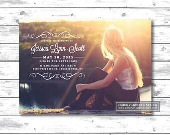 graduation announcement, invitation, high school, college, card, senior, modern, party invitation, grad, PRINTABLE or PRINTED CARDS