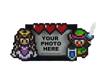 Legend of Zelda Picture Frame - Couples Picture Frame - Nerdy Wedding Gift - Nerdy Gift - Video Game Wedding - Pixel Wedding