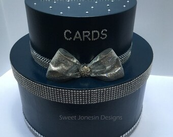 Navy Blue Wedding Cake Card Box Bling Ribbon