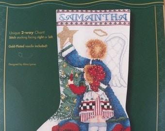 1998 Bucilla Celebrations ANGELIC TRIMMINGS Stocking Cross Stitch Kit NEW~Angel