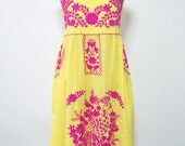 Embroidered Mexican Sundress Cotton Strapless Dress In Yellow, Beach Dress, Bohemain Dress, Boho Dress