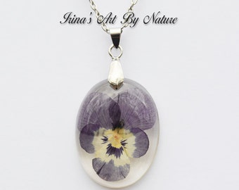 Pressed Flower Jewelry Real Pansy Pendant Necklace Oval Resin Floral Botanical Nature Jewelry