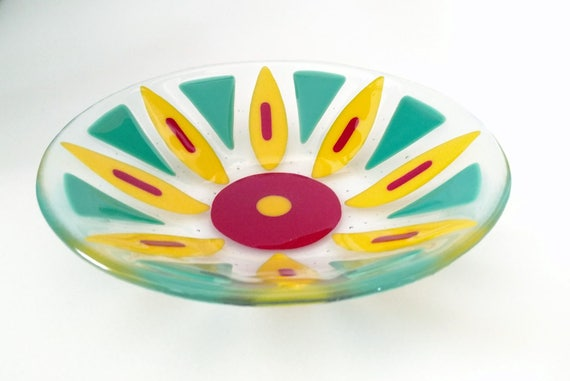 Yellow Decorative Bowl Delectable Fused Glass Flower Bowl Fused Glass Dish Fruit Bowl Review