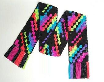 bright neon boxy stripes scarf- handmade by RockinLola