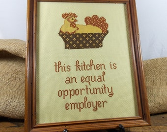 """Vintage Framed Needlepoint ~ Completely Handmade ~ Hen in a Basket ~ """"this kitchen is an equal opportunity employer"""""""