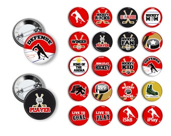 Hockey Theme Pin Back Button Party Favors  1.25 inch Buttons Student Reward Pins Buttons Badges magnets