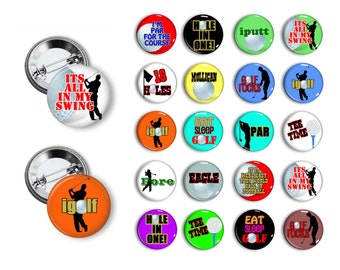 Golf Pins Golfing Buttons  Sport Theme  Pin Back Button Party Favors  1.25 inch Buttons Golfers Party Golfing Party