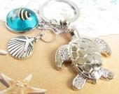 Sea Turtle Keychain, Turtle Keychain, Beach Keychain, Shell Keychain, Car Accessories, Nautical Keychain, Fish Keychain, Gift for Her