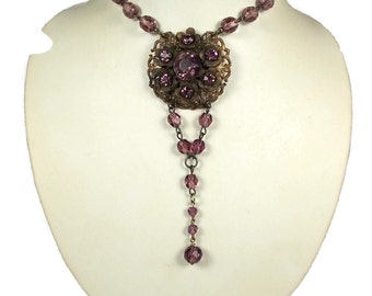 Lavender Czech Glass Necklace Brilliant Purple Crystal