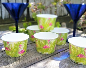 8 Flamingo paper 8oz/200ml ice-cream cup bowls/cups - pink flamingo paper ice-cream bowls/cups - flamingo/tropical party cups