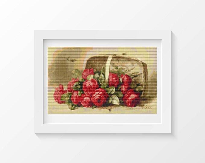 Cross Stitch Kit, Embroidery Kit, Art Cross Stitch, Floral Cross Stitch, Basket of Roses by Paul de Longpre (LONG05)