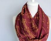 Lord of the Rings Scarf Infinity Scarf Elvish Script Scarf Burgundy Claret Red Book Scarf Geek Gift For Her Wife Fashion Accessories